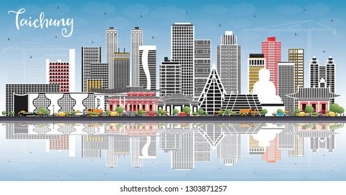 Taichung Taiwan City Skyline with Gray Buildings, Blue Sky and Reflections. Vector Illustration. Travel and Tourism Concept with Historic Architecture. Taichung China Cityscape with Landmarks.