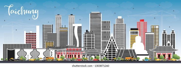 Taichung Taiwan City Skyline with Gray Buildings and Blue Sky. Vector Illustration. Business Travel and Tourism Concept with Historic Architecture. Taichung China Cityscape with Landmarks.