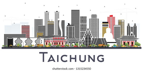 Taichung Taiwan City Skyline with Gray Buildings Isolated on White. Vector Illustration. Travel and Tourism Concept with Historic Architecture. Taichung China Cityscape with Landmarks.