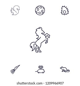 Tail icon. collection of 7 tail outline icons such as mouse, mouse toy, extinct sea creature, horse. editable tail icons for web and mobile.