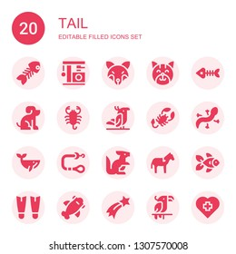 tail icon set. Collection of 20 filled tail icons included Fish bone, Cat, Fox, Fish bones, Pet, Scorpion, Parrot, Lizard, Whale, Leash, Kangaroo, Horse, Goldfish, Fins, Shark