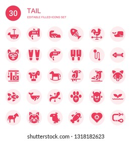 tail icon set. Collection of 30 filled tail icons included Whale, Shark, Crocodile, Fish bone, Rooster, Cat, Fins, Leash, Horse, Parrot, Goldfish, Lizard, Veterinary, Devil, Fish bones