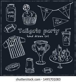 Tailgate party design elements hand drawn doodle set. Vector illustration. Isolated elements on white background. Symbol collection.