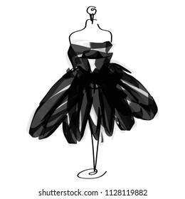 Tailor dummy fashion icon on white background. Atelier, designer, constructor, dressmaker object. Black Couture symbol, silhouette white background. Vector illustration. EPS10