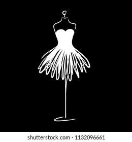 Tailor dummy fashion icon on white background. Atelier, designer, constructor, dressmaker object. Black Couture symbol, silhouette white background. Vector illustration. EPS8