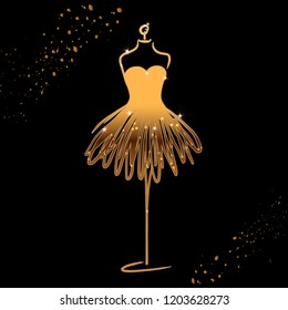 Tailor dummy fashion icon on black background. Atelier, designer, constructor, dressmaker object. Gold sparkling brilliant Couture symbol, silhouette. Vector illustration. Vector illustration. EPS10