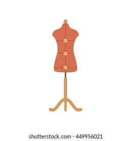 Tailor mannequin flat icon. Vector tailor mannequin silhouette illustration. Colorful tailor mannequin isolated icon for your design.