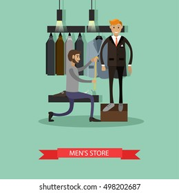 Tailor measuring his man client to make custom suit. Men's fashion concept. Clothes shop Interior. Vector illustration banner in flat style design.