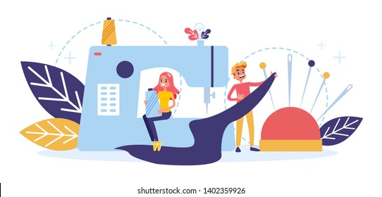 Tailor profession concept. People sewing dress using speacial equipment. Clothing designer, handmade dress. Vector illustration in cartoon style