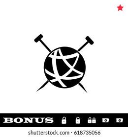 Tailor ravel ball of yarn for knitting icon flat. Black pictogram on white background. Vector illustration symbol and bonus button open and closed lock, folder, star