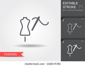 Tailor s dummy and needle Line icon with editable stroke. Linear fashion symbol