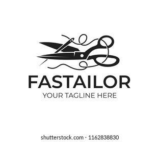 Tailor, scissors and needle with a thread, logo design. Sewing, needlework, clothing and sphere of services, vector design and illustration