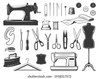 Tailor and seamstress tools, sewing equipment set. Retro and modern sewing machine, tailor and embroidery scissors, thread nipper, pinking shears and tracing wheel, needles and pins, dress form vector