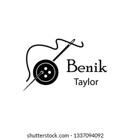 tailor, sewing button logo