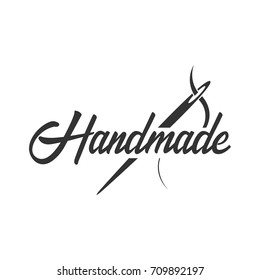 Tailor, sewing, handmade logo or emblem Vector illustration