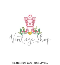 Tailor Sewing Vintage, Mannequin, Fashion, Floral, Retro Logo Template Vector Design