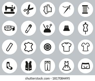 Tailor Shop Icons Black & White Flat Design Circle Set Big