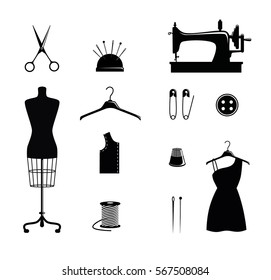 Tailor shop icons: scissors, needle bar, a sewing machine, button, mannequin, hanger, pins, needles and thread. Vector illustration for sewing shop or tailor.