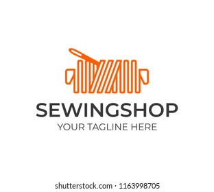 Tailor shop logo design. Thread with needle vector design. Sewing logotype