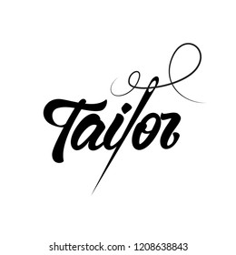 Tailor shop logo emblem in lettering style with needle.  Vector illustration design.