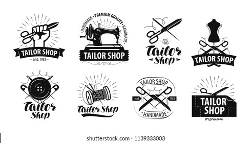 Tailor shop logo or label. Tailoring concept. Vector illustration