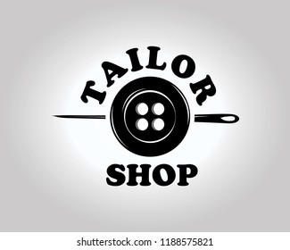 Tailor Shop Logo Tempale. Simple and Elegant Tailor Logo with Buttons and Sewing Needle