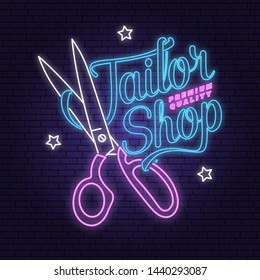 Tailor shop neon design or emblem. Vector illustration. Typography design with scissors silhouette for sewing shop business. Retro design for sewing shop business. Night neon signboard