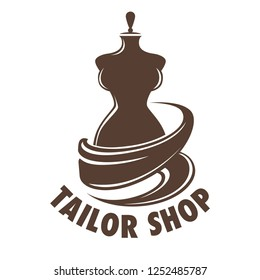 Tailor shop tailoring occupation in atelier mannequin logo vector monochrome sketch outline of store logotype bespoke clothes and repairing of damages clothing flat style isolated icon with text.