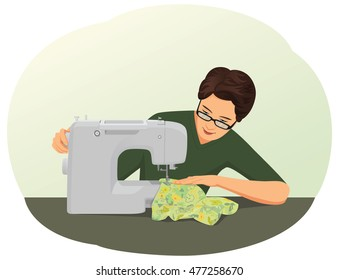 Tailor is using a sewing machine. Textile machinist at work.