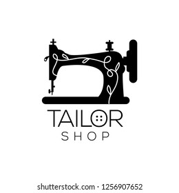 Tailor vector logo. Sewing machine logo template. Fashion logo. Sewing machine vector icon