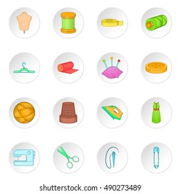 Tailoring icons set in cartoon style. Sewing and needlework set collection vector illustration