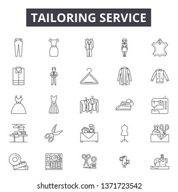 Tailoring service line icons, signs set, vector. Tailoring service outline concept, illustration: service,tailor,fashion,deequipment,tailoring,clothing