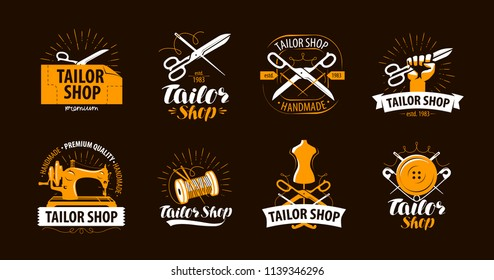 Tailoring, tailor shop logo or label. Atelier symbol set. Vector illustration