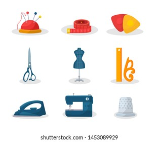 Tailoring tools flat vector illustrations set. Needle pin and measuring tape. Fashion workshop dressmaking equipment. Scissors, mannequin. Tailor instruments pack. Smoothing iron and sewing machine