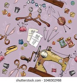 Tailoring tools seamstress fashion designer needlework sewing machine seamless scissors, thread, haberdashery pattern vector. Tailor seamless hand drawn background