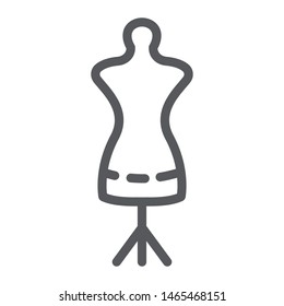 Tailors dummy line icon, dressmaker and tailor, mannequin sign, vector graphics, a linear pattern on a white background, eps 10.