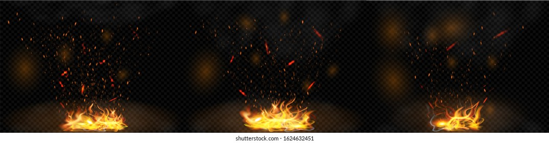 Tails of bright flame with sparks, smoke and fire patches of light on a dark transparent background. The texture of the fiery whirlwind. Glowing explosion of flying particles. Vector illustrations set