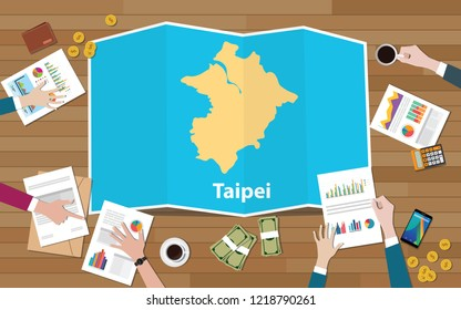 taipei capital taiwan city region economy growth with team discuss on fold maps view from top vector illustration