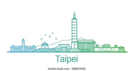 Taipei city colored gradient line. All Taipei buildings - customizable objects with opacity mask, so you can simple change composition and background fill. Line art.