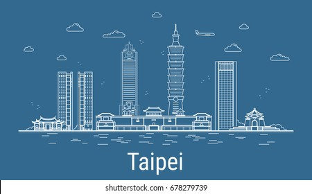 Taipei city, Line Art Vector illustration with all famous towers. Linear Banner with Showplace. Composition of Modern buildings, Cityscape. Taipei buildings set