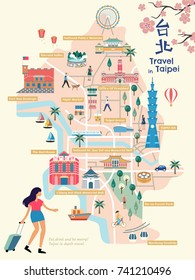 Taipei city map, Lovely flat style landmarks and route for design uses, Taipei name in Chinese word on the upper right, buildings name on the red architecture