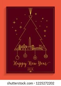 Taipei City New Year Card Design Template