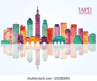 Taipei detailed skyline. Vector illustration