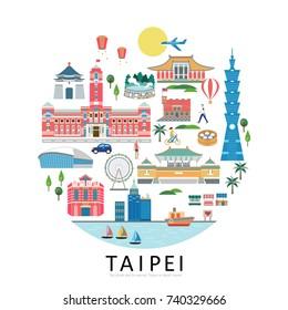 Taipei landmarks collection, circle shape of taiwan travel concept illustration