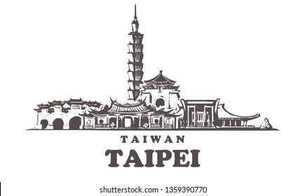 Taipei sketch skyline. Taiwan, Taipei hand drawn vector illustration. Isolated on white background.