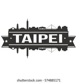 Taipei Skyline Stamp Silhouette City Vector Design Art