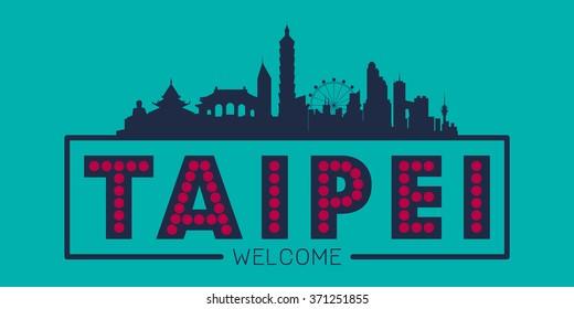 Taipei Taiwan city skyline silhouette vector design
