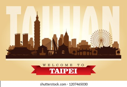 Taipei Taiwan city skyline vector silhouette illustration