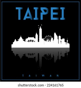 Taipei, Taiwan, skyline silhouette vector design on parliament blue and black background.