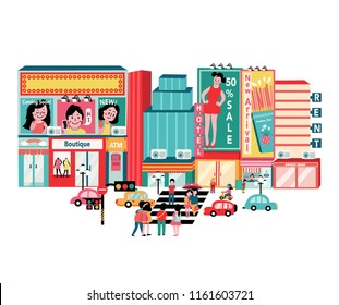 Taipei travel in Taiwan,with people and traffic in the town, all in flat style background, illustration, vector